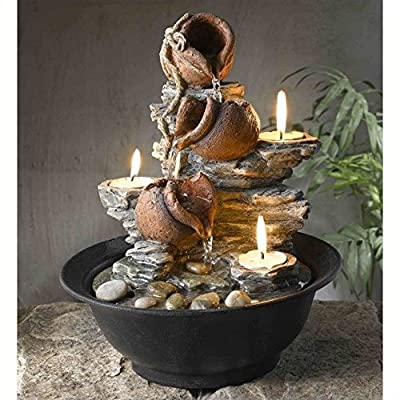 Jeco Inc. Tavolo Luci Mini Pot Tabletop Fountain with Candle