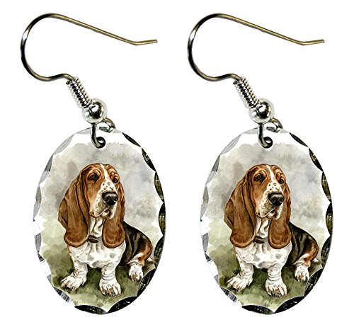 Basset Hound Jewelry - Canine Designs Basset Hound Scalloped Edge Oval Earrings