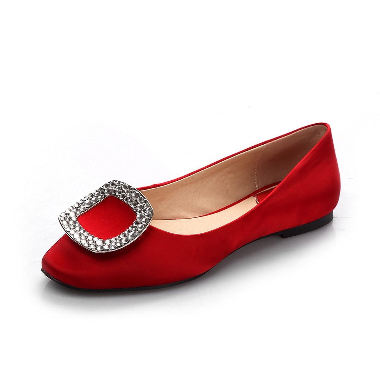 AdeeSu Womens No-Closure Round-Toe Solid Satin Flats Shoes SDC03561