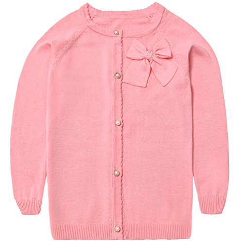 Lymanchi Little Girls' Pearl Bow Long Sleeve Button Front Knit Cardigan Sweater Pink (Pink Bow Knit Sweater)
