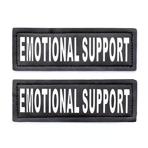 Industrial Puppy Emotional Support Dog Patch Tag with Hook Back - Reflective Lettering on ESA Patch for Vest, Harness, or Collar - Set of Two Emotional Support Dog Patches for ESA Vest (Emotional Support Animal Patch)