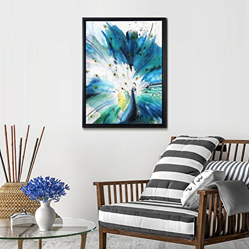 Framed Abstract Canvas Prints Wall Art-Teal Animal Painting with Black Floater Frame, 'Peacock Spirit' Modern Artwork Picture Ready to Hang for Living Room Office Hallway Gallery Wall Decor 12X16'' (Teal Ideas Wall)