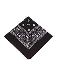 BOOLAVARD 1s, 6s, 9s or 12 Pack Cowboy Bandanas with Original Paisley Pattern (Black)