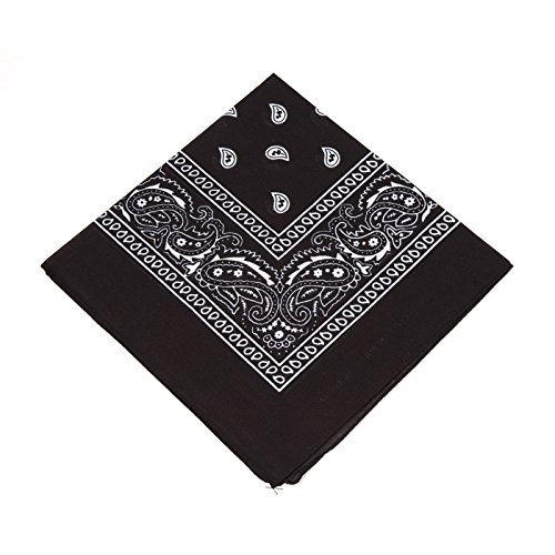 - BOOLAVARD 1s, 6s, 9s or 12 Pack Cowboy Bandanas with Original Paisley Pattern (Black)