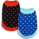 "Blueberry Pet Polka Dot Designer Dog Sweater in Black and Red, Back Length 12"", Pack of 1 Clothes for Dogs"