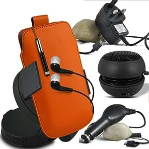 ONX3 Alcatel One Touch Fierce Leather Slip cuerda del tirón de la PU de protección en la bolsa del lanzamiento rápido con Mini capacitivo Retractabletylus Pen, 3.5mm en auriculares del oído, mini altavoz recargable Cápsula, 360 Rotación del parabrisas del coche horquilla del sostenedor del montaje, Micro USB CE aprobó 3 Pin Cargador , 12v Micro USB cargador de coche (Naranja)