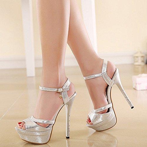 COOLCEPT Mujer Moda Correa de tobillo Sandalias Peep Toe Slingback Tacon de Aguja Zapatos Plata
