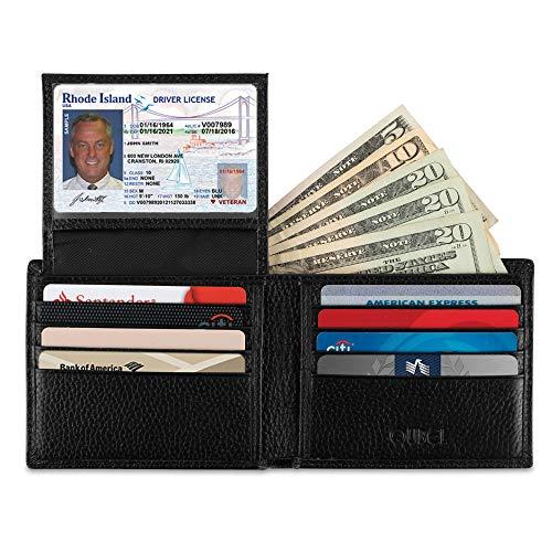 Wallet for Men-Genuine Leather RFID Blocking Slim Bifold Stylish With ID Window (Black)