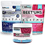 PureClean Powder - 100% USA Grown Organic Beet Juice Powder, ALSO Beet'Ums - beet infused Chocolate Pomegranate Performance Chews AND FundAminos - Amino Acids Supplements. VEGAN, Naturally Flavoured