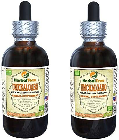 Umckaloabo (Pelargonium Sidoides) Tincture, Dried Roots Liquid Extract (Brand Name: HerbalTerra, Proudly Made in USA) 2x2 fl.oz (2x60 ml)