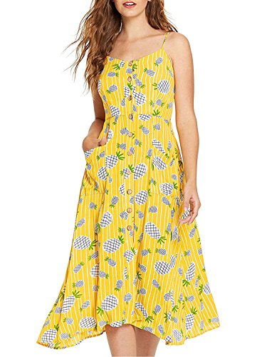 Milumia Women's Sleeveless Button Floral Print Strap Pocket Swing Cami Dress X-Small Multicolor-Yellow-2-2 ()