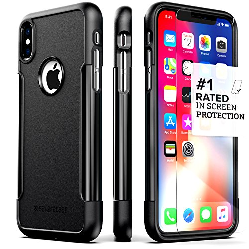 iPhone X/XS Case, SaharaCase Classic Protection Kit with [ZeroDamage Tempered Glass Screen Protector] Slim Fit Anti-Slip Grip [Shockproof Bumper with Hard Back] - Black
