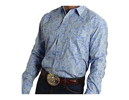 Roper Men's Amarillo Collection Blue Paisley Shirt Blue XX-Large