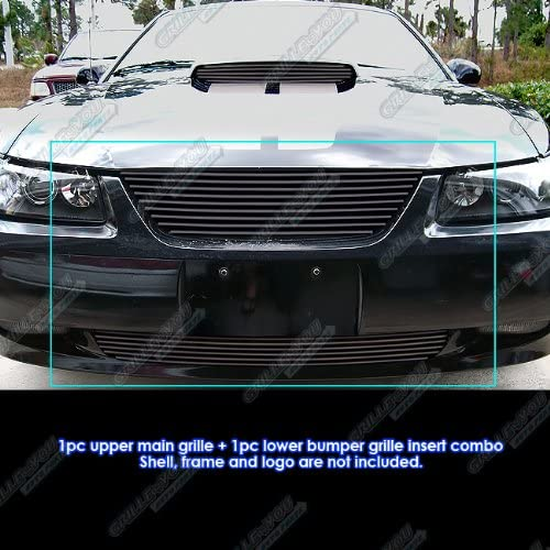 APS Compatible with 1999-2004 Ford Mustang Black Billet Grille Combo F87990H