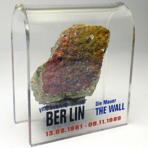"Original Piece of the Berlin Wall - Authentic Souvenir from the Real Wall in Germany Mounted in Acrylic Display (Small (2""X2""), Divided City)"