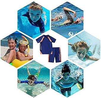 KID1234 Kids Boys Swimsuits UPF50+UV Swimwear Set Two Piece Rash Guard with hat for 4-12 Years