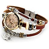 Women's Lady's Girl's Fashion Wrist Bracelet Watch With Cute Snail Charm Genuine Leather Band Gift (Snail charm)