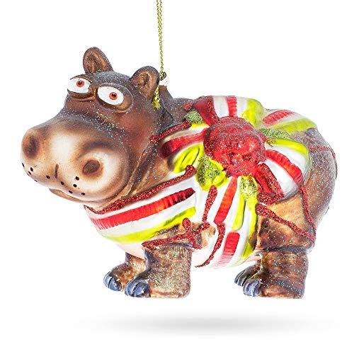 BestPysanky Hippo Gift Blown Glass Christmas Ornament (Hippo Ornament)