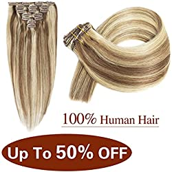 "Urbest hair Brazilian Clip In Human Hair Extensions Straight Hair Double Weft 100% Remy Human Hair 15Inches 7Pieces/Lot 70g 16Clips(15""-70g,6/613#)"