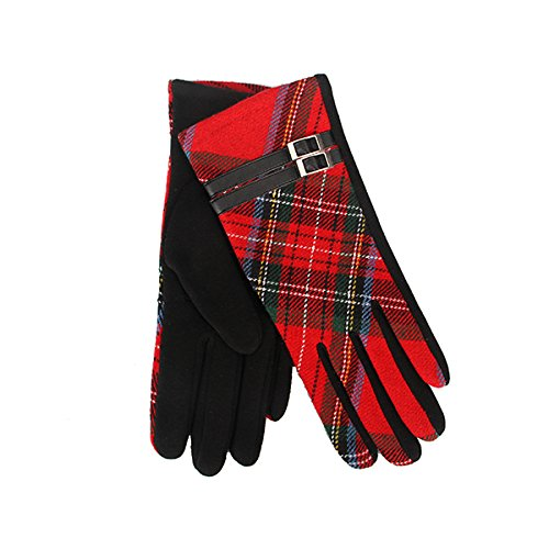 Tartan Traditions Check Tartan with Buckle Lined Ladies Gloves (Red)