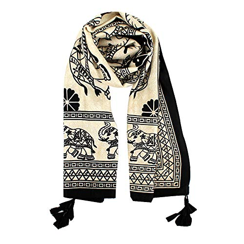 - Felice Womens Twill Cotton Pashmina Shawl Wrap Bohemian Elephant Print Paisley Pattern Scarf (yellow)
