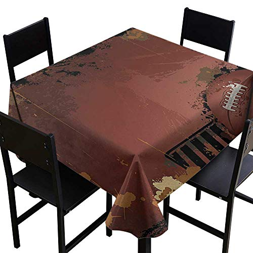 - Tablecloth Custom Sports,Maroon Grunge Rugby Theme with Game Elements Competition Win Sports Artisan Image,Brown Black,W70 x L70 Square Tablecloth