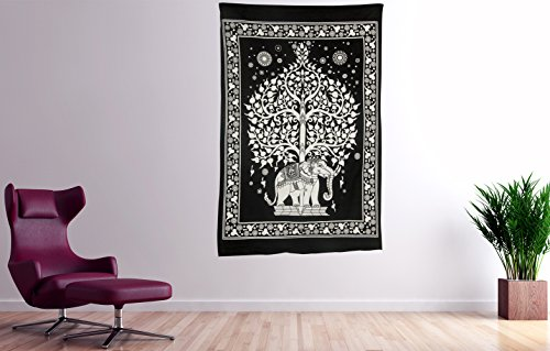 Tribe Azure Elephant Hippie Tapestry Wall Hanging Boho Bohemian Dorm College Animals Ethnic Yoga Studio Cotton Collage Wall Art Home Decor Accents Decorative Canvas Living Room Bedroom Display Mural