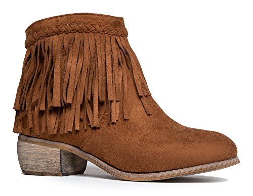 J. Adams Bree Ankle Boot - Casual Western Fringe Cowboy Low Heel - Boots Cowboy Flat
