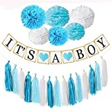 Baby : Baby Shower Decorations, Easy, Fun and Cute Display, It's a Boy Banner, blue and white pompoms, Tassels, Free Goodie Bags. Good for Indoors and Out.