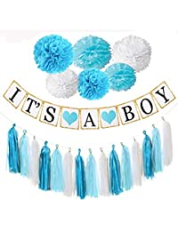 Baby Shower Decorations, Easy, Fun and Cute Display, It's a Boy Banner, blue and white pompoms, Tassels, Free Goodie Bags. Good for Indoors and Out. BOBEBE Online Baby Store From New York to Miami and Los Angeles