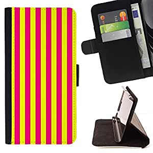 For Apple Iphone 6 Vertical Lines Bright Yellow Purple Beautiful Print Wallet Leather Case Cover With Credit Card Slots And Stand Function