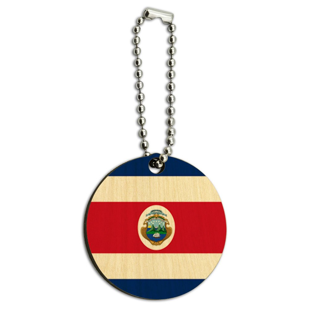 Costa Rica National Country Flag Wood Wooden Round Key Chain
