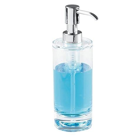 InterDesign Eva Dosificador de baño, dispensador de jabón líquido de plástico, transparente/plateado