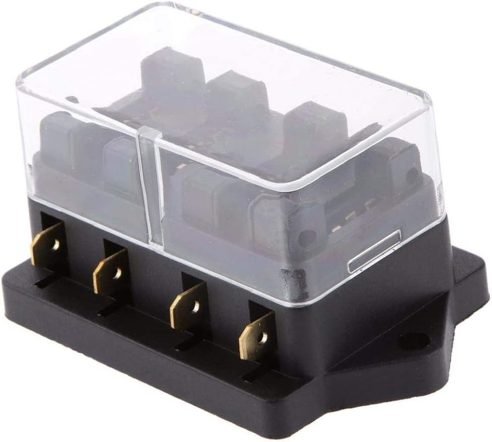 4 Way fusible Bloc Portable Pi/èces auto Multi Function voiture Ins/érer Accessoires Porte-fusible avec 4 pi/èces fusibles pour les voitures