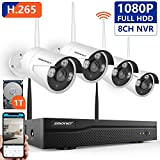 [Expandable System]1080P Security Camera System Wireless,SMONET 8CH H.265 Wireless Surveillance System with 4pcs 2.0MP Security Cameras and 1TB Hard Drive Pre-installed,P2P Home Security Camera System