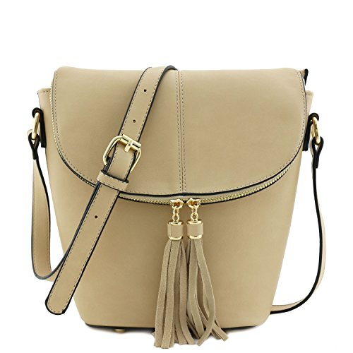 Flap Top Bucket Crossbody Bag with Tassel Accent (Light Taupe) (Bucket Beige)