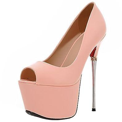 Atyche Damen Peeptoes Extreme High Heels Plateau Pumps mit Stiletto 16cm Absatz Lack Party Schuhe