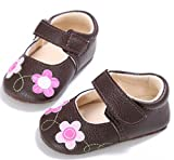 Infant Baby Girl Flower Leather Soft Sole Crib Shoes Toddler Prewalker Shoes Brown 7-12 Months