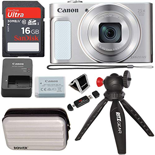 Canon PowerShot SX620 Digital Camera w/25x Optical Zoom – Wi-Fi & NFC Enabled (Silver), SanDisk Ultra 16GB SDHC Memory Card, Bower SCX5500 Camera Case (Silver) and Accessory Bundle