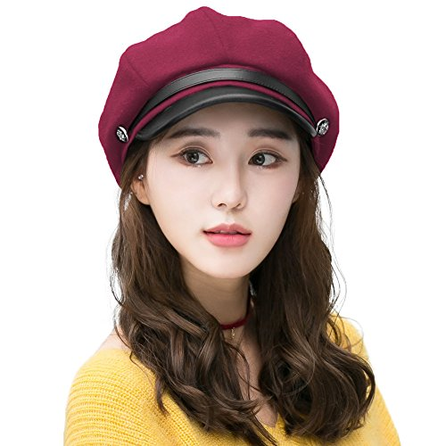 Newsboy Cap for Women Wool Winter Hat Ladies Visor Beret Cloche Hats Cold Weather Hat Lined Red