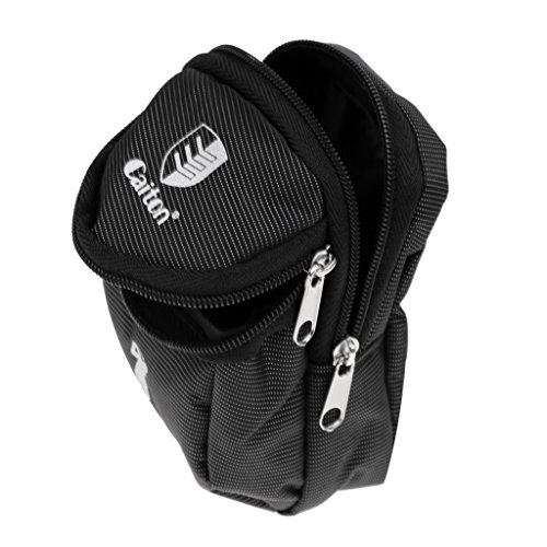 Baoblaze New Zippered Mini Golf Ball Holder Bag Black (Storage Balls, Tees, Divot Tools, Ball Markers)