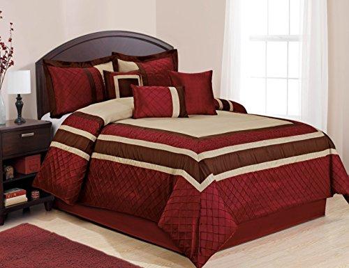 7 Piece Scarlet Burgundy Pinch Pleated Comforter Set Queen