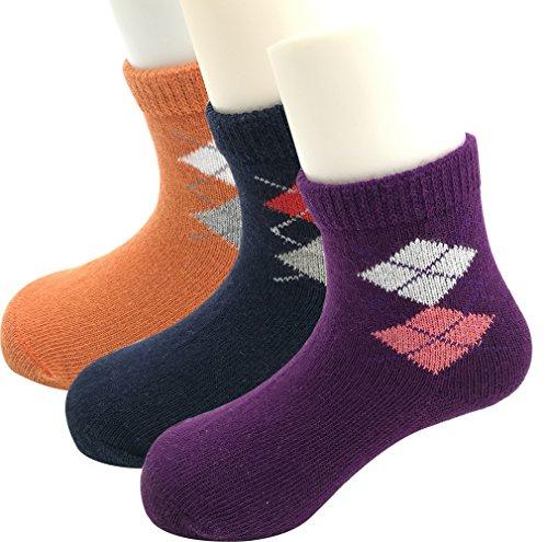 [Loverey Boys' Toddler 3-Pack Ankle Socks(Lattice,Purple,Navy blue ,Orange)] (Halloween Costumes 36 Months)