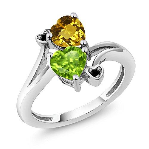 1.56 Ct Heart Shape Green Peridot Yellow Citrine 925 Sterling Silver (Sterling Silver Peridot Citrine Ring)
