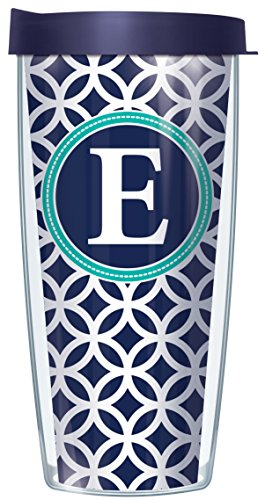 Oz Travel Mug 16 Signature - E Initial on Navy Roundabout Traveler 16 Oz Tumbler Cup with Lid