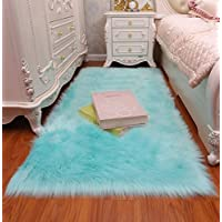 GIANCO FERRO Faux Fur Sheepskin Rug Fluffy Mat Chair Pad Fur Area Rugs Floor Carpet for Room Sofa Blue,3x5.3ft
