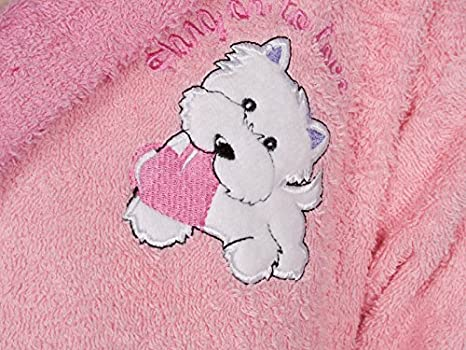 DOLZ - Albornoz Infantil Rizo Doggy Rosa - 02/04 años - 100% Algodón: Amazon.es: Hogar