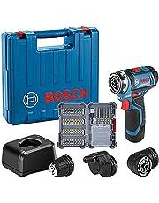 Bosch Professional 12V System sladdlös borrskruvdragare GSR 12V-15 FC (med 1x 2,0Ah-batteri, snabbladdare GAL 12V-20, 3x chucktillsatser, 40-delars tillbehörssats, i väska) – Amazon Exclusive