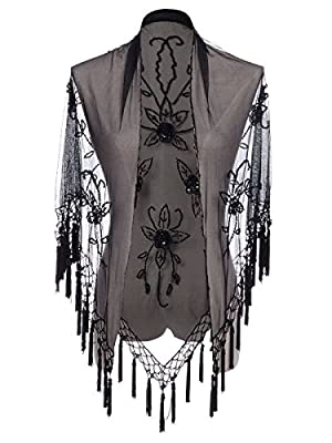 Anna-Kaci Womens Tassel Fringe Beaded Floral Embellished Shawl Cover Up Cardigan