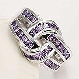 Sumanee Women Fashion 925 Sterling Silver Amethyst Twist Rope Wedding Engagement Ring (7)